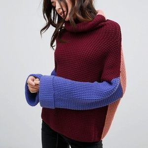 Free People Park City Color Block Rollneck Sweater